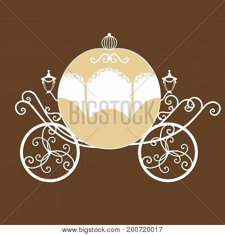 Decorative brougham. Wedding carriage. Coach. Vintage carriage isolated on white background. Also suitable for invitation card. Vector illustration.