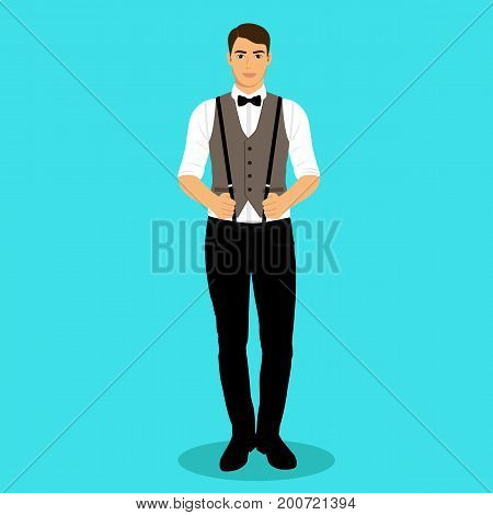 A man with suspenders. The groom. Clothing. Wedding men's suit tuxedo Vector illustration