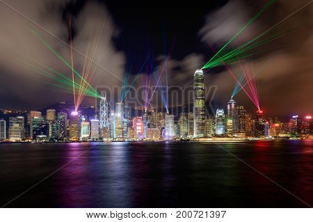 Beautiful laser show scenery of Victoria harbor Hong Kong