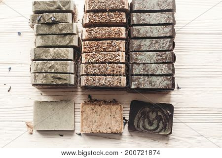 Natural Soap. Handmade Herbal Soap With Wildflowers, Healing Flowers, Mint, Dried Lavender, Top View
