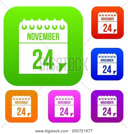 24 november calendar set icon in different colors isolated vector illustration. Premium collection