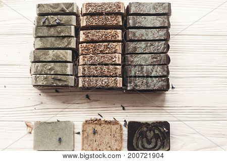 Natural Soap. Handmade Herbal Soap With Wildflowers, Healing Flowers, Mint,  Lavender, Top View. Eco