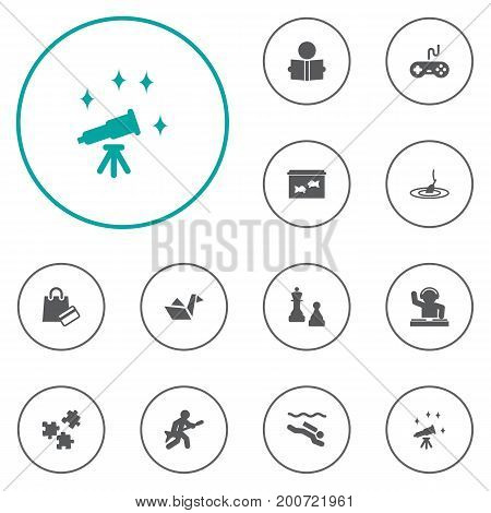 Collection Of Telescope, Frogman, Checkmate And Other Elements.  Set Of 12 Entertainment Icons Set.