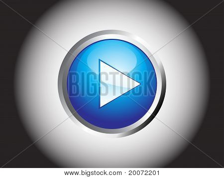 Abstract Blue Shiny Play Button