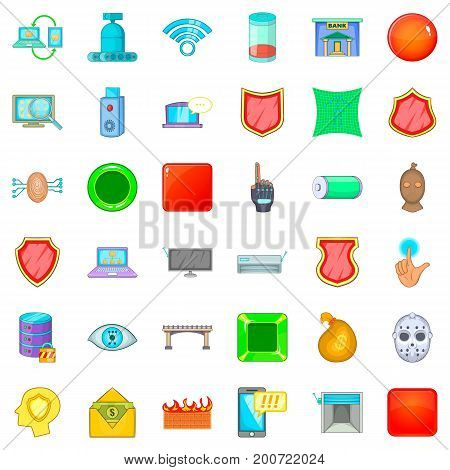 Cyber crime icons set. Cartoon style of 36 cyber crime vector icons for web isolated on white background