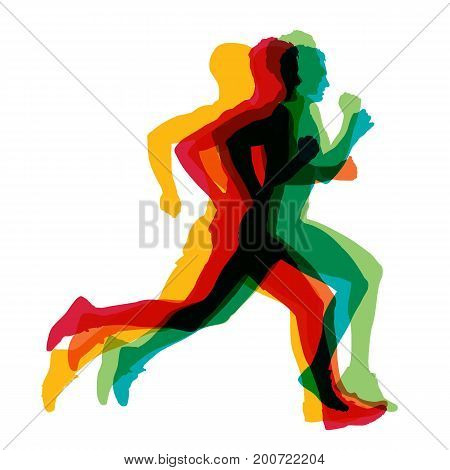 Run, colorful vector silhouettes of running men, side videw