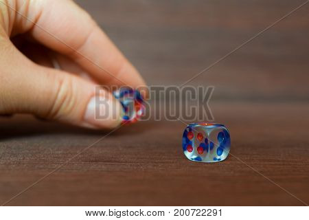 Woman hand put transparent dice on brown wooden board. Six sides with blue and red points. Blurry background.