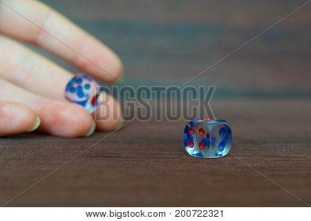 Woman hand trowing two transparent dices to brown wooden board. Six sides with blue and red points. Blurry background.