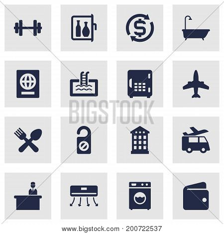 Collection Of Strongbox, Citizenship, Check In And Other Elements.  Set Of 16 Motel Icons Set.