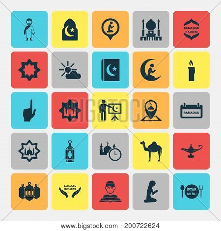 Religion Icons Set. Collection Of Person, Religion, Man With Moon And Other Elements
