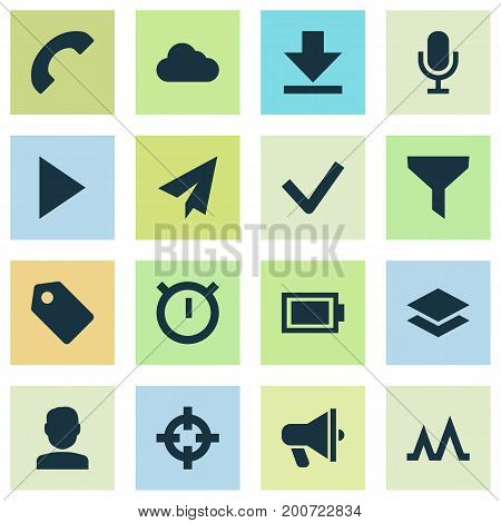 Interface Icons Set. Collection Of Storage, Level, Amplifier And Other Elements
