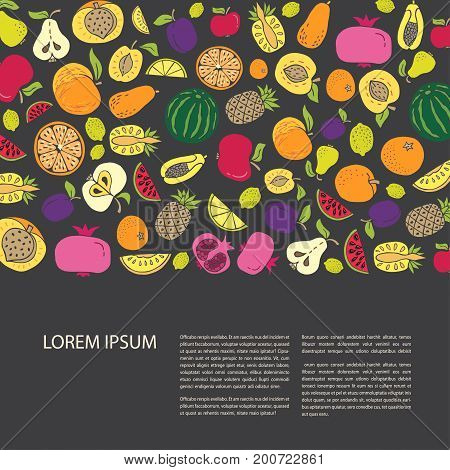 Agricultural leaflet template with hand drawn fruit. Flat style vector illustration on black background. Various organic product for healthy food. Place for text. Horizontal composition
