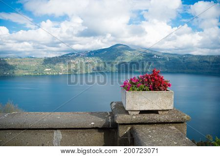 lake Albano at castel Gandolfo the summer residence of the pope