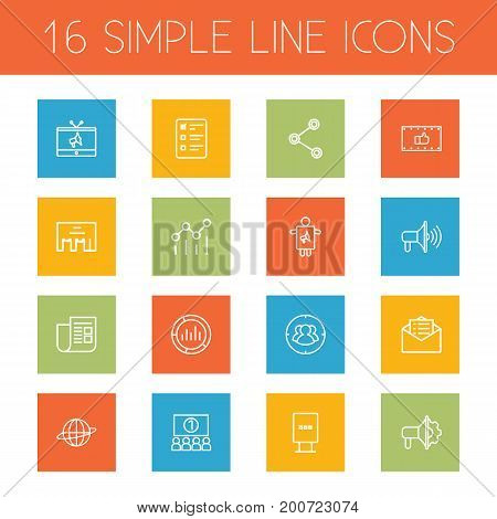 Collection Of Client Brief, Campaign, Audience And Other Elements.  Set Of 16 Advertising Outline Icons Set.