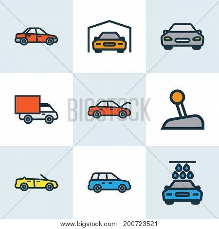 Auto Colorful Outline Icons Set. Collection Of Washing, Shed, Sport And Other Elements