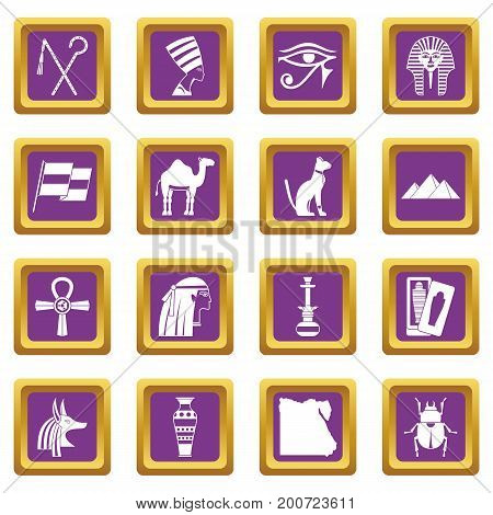 Egypt travel items icons set in purple color isolated vector illustration for web and any design