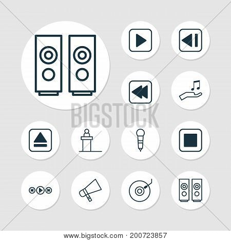 Multimedia Icons Set. Collection Of Microphone, Extract Device, Rewind Back And Other Elements