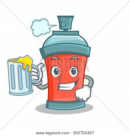 With juice aerosol spray can character cartoon vector illustration