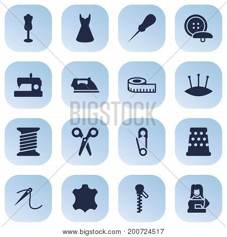 Collection Of Machine, Bodkin, Mannequin And Other Elements.  Set Of 16 Tailor Icons Set.
