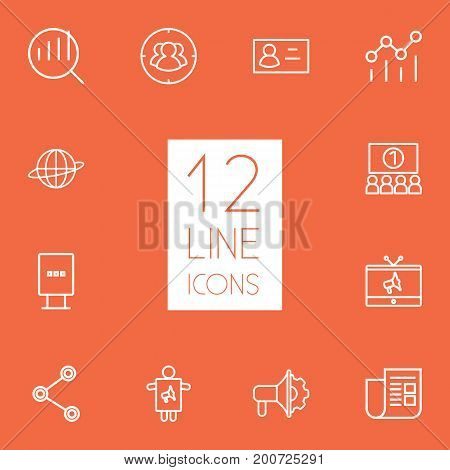Collection Of Social Media Ads, Newspaper, Campaign And Other Elements.  Set Of 12 Advertising Outline Icons Set.