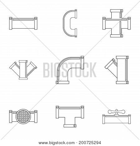 Water conduit icon set. Outline set of 9 water conduit vector icons for web isolated on white background