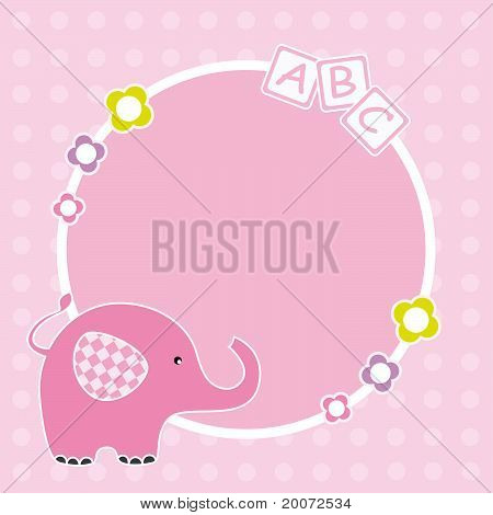 Picture frame or text. pink elephant