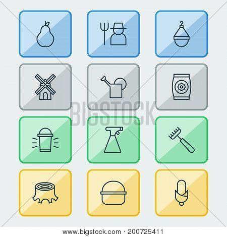 Icons Set. Collection Of Duchess, Grower, Package And Other Elements