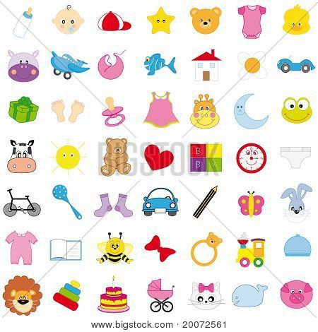 baby icons in color