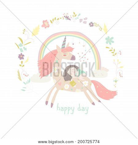 Cute cartoon girl with unicorn. Vector illustration