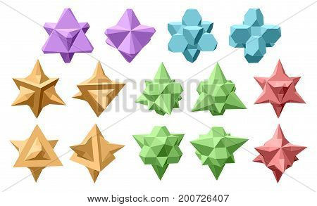 Set Of Vector Complex Geometric Shapes Based On Two Tetrahedrons. Five Types Of Shapes. Various Type