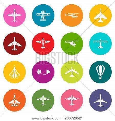 Aviation icons many colors set isolated on white for digital marketing