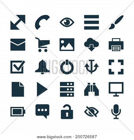 User Icons Set. Collection Of Datacenter, Printer, Screenshot And Other Elements