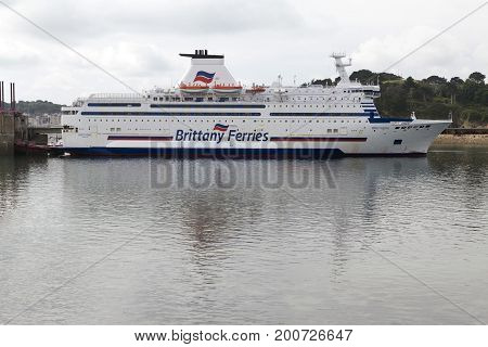 Saint Malo Brittany France - July 4 2017: Brittany Ferries cross channel ferry Bretagne docked at Saint Malo port