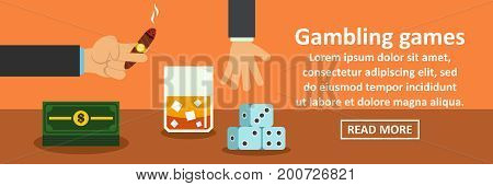 Gambling games banner horizontal concept. Flat illustration of gambling games banner horizontal vector concept for web