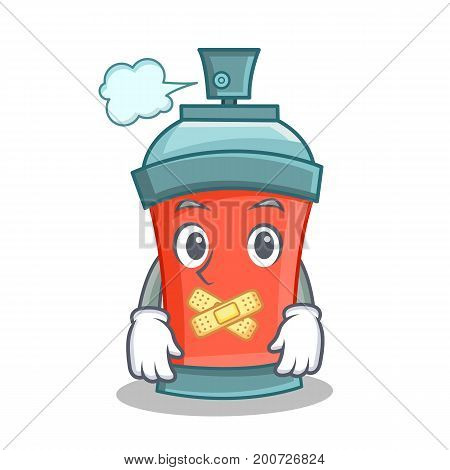 Silent aerosol spray can character cartoon vector art