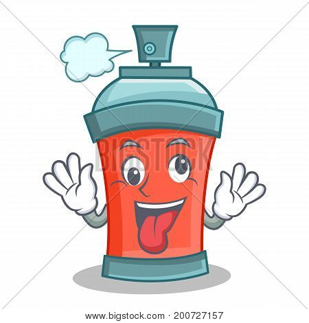 Crazy aerosol spray can character cartoon vector illustration