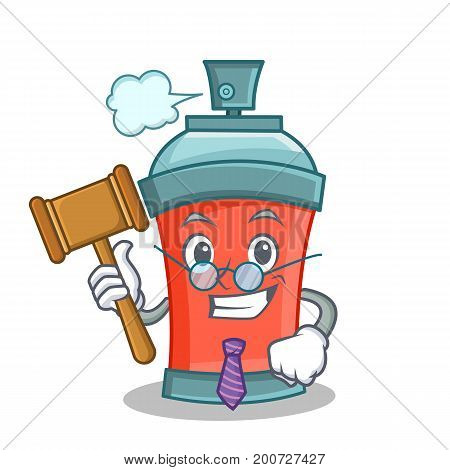 Judge aerosol spray can character cartoon vector illustration