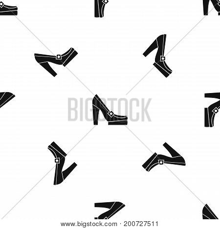 Women shoes on platform pattern repeat seamless in black color for any design. Vector geometric illustration