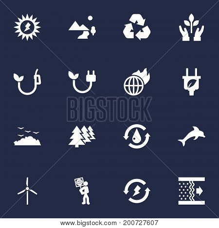 Collection Of Leaf, Reforestation, Fish And Other Elements.  Set Of 16 Ecology Icons Set.