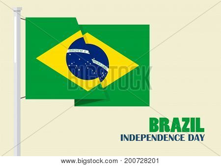 Brazil Independence Day with Brazil flag. Vector illustration