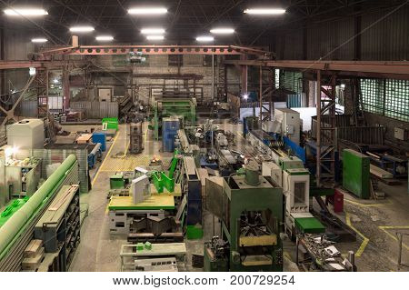 Metalworking shop. Lathes and grinders, welding and cutting machines. View from the top point.