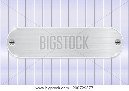 Metal plate on shiny steel background. Vector illustration