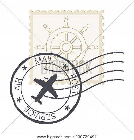 Post stamp with steering wheel symbol. Vector illustration isolated on white background