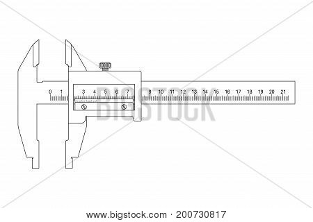 Caliper. Outline drawing. Vector illustration isolated on white background