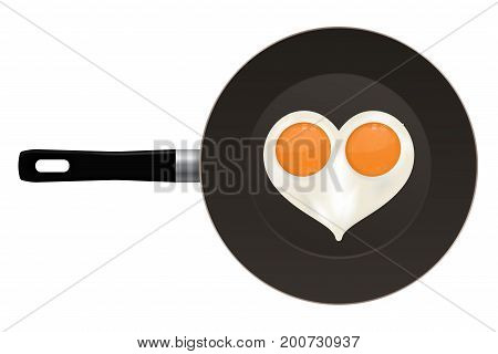 Fried egg in heart shape. On frying pan. Vector illustration isolated on white background