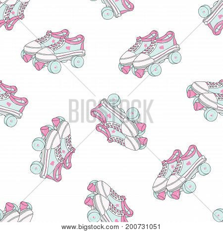 Seamless pattern with quad roller skates on white background. Retro laced boots, colorful vector background