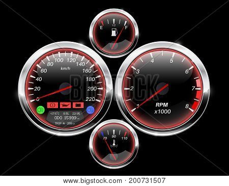 Car dashboard. Speedometer, tachometer, fuel and temperature gauge. Vector illustration