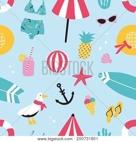 Colorful summer seamless pattern with hand drawn elements pineapple, ice cream, seagull, surfboard, ball, swimwear, hat, beach umbrella, sunglasses, lifebuoy starfish drink flip flops anchor