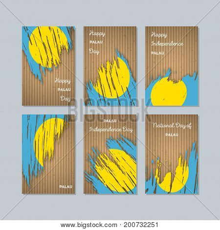 Palau Patriotic Cards For National Day. Expressive Brush Stroke In National Flag Colors On Kraft Pap