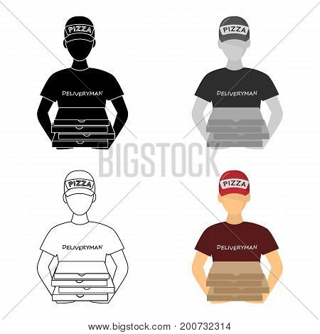Courier on the delivery of pizza. Logistics and delivery single icon in cartoon style isometric vector symbol stock illustration .